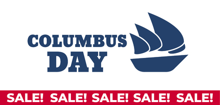 USA Columbus Day celebrate banner with Columbus Ship. Lettering text Happy Columbus Day 写真素材 - 110271182