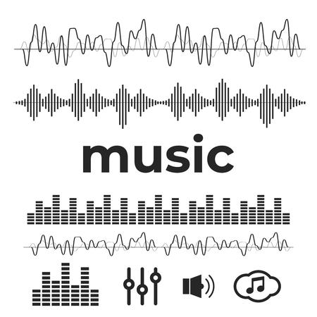 Vector sound waves. Audio equalizer technology vector Illustration
