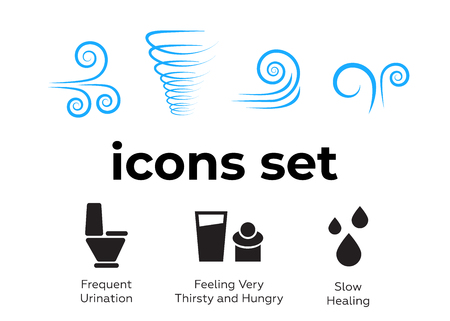 Vector icons set. Air and key icon. Name tag and film roll vector set icons Imagens - 107884727