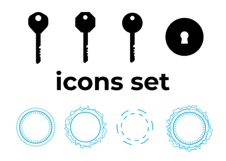 Vector icons set. Air and key icon. Name tag and film roll vector set icons Imagens - 107884741