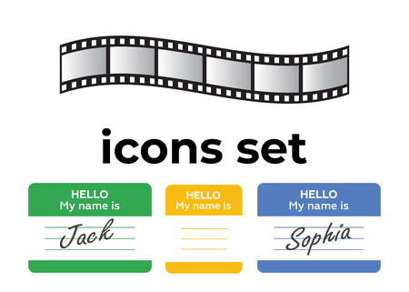 Vector icons set. Air and key icon. Name tag and film roll vector set icons Imagens - 107884751