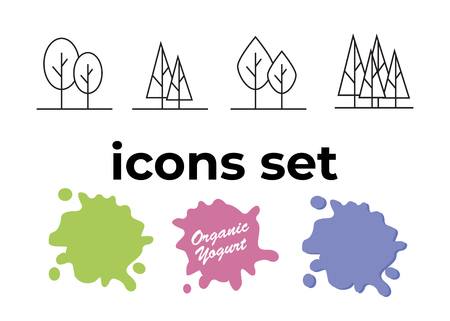 Vector icons set. Air and key icon. Name tag and film roll vector set icons Imagens - 107895562