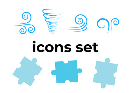 Vector icons set. Air and key icon. Name tag and film roll vector set icons Imagens - 107895566
