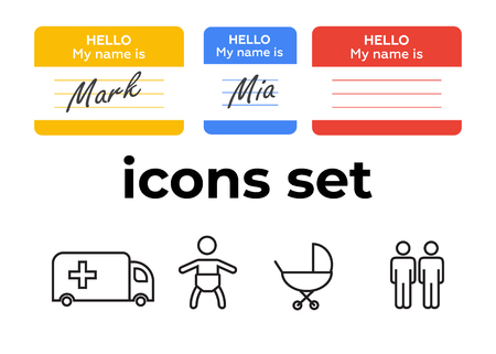 Vector icons set. Air and key icon. Name tag and film roll vector set icons Imagens - 107895609