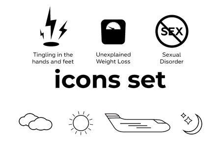 Vector icons set. Air and key icon. Name tag and film roll vector set icons