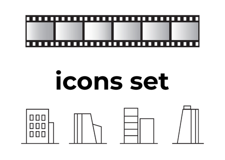 Vector icons set. Air and key icon. Name tag and film roll vector set icons Imagens - 107895817