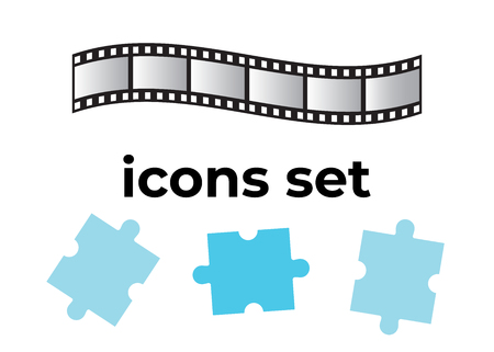 Vector icons set. Air and key icon. Name tag and film roll vector set icons Archivio Fotografico - 107895837