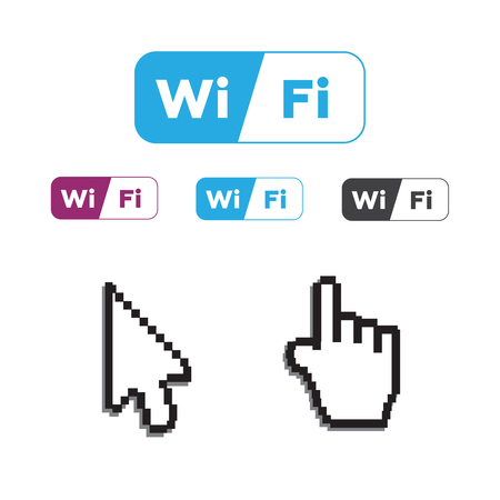 Free wifi icons and wifi applications and Hand arrow web cursor vector