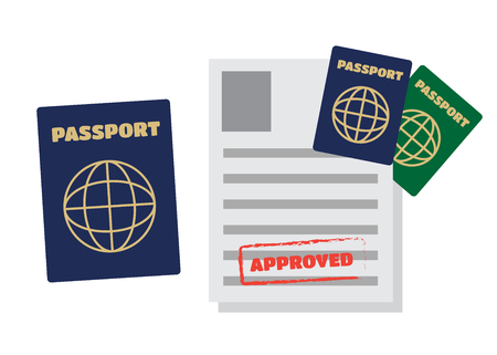 Visa stamping. Passport or visa application. Travel vector