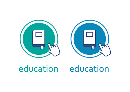 Education design with book illustration. Education online