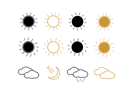 Suns collection on white background illustration. Sun icons