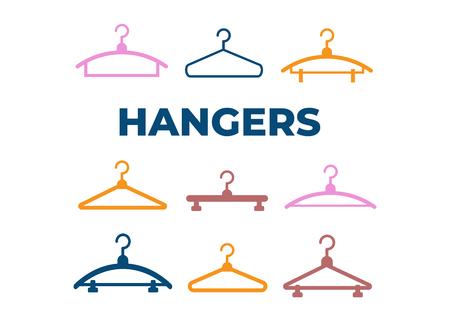 Hangers vector black icons. Cloth hanger, object hanger set Illustration