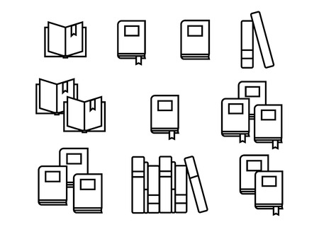 Book icons in colored flat line style. Abstract app vector