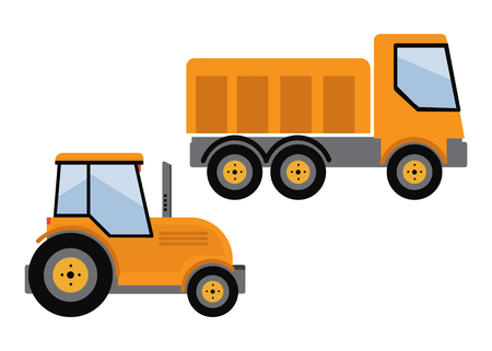 Tipper truck illustration in flat style icon Illustration