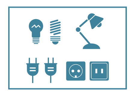 Lamp and bulbs black icons set. Electrical symbols. Bulb energy, electric lamp icon Vector Illustration