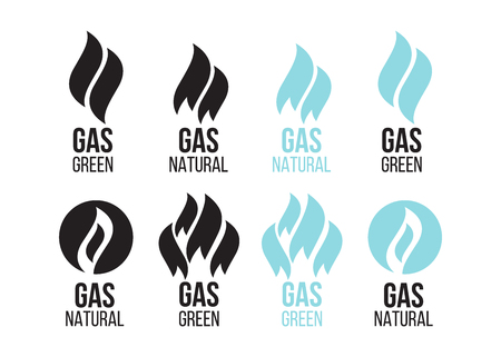 Gas industry, icons set. Energy industry green Illustration