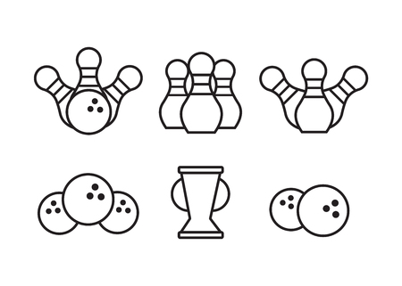 Bowling black icons. Signs and symbols for bowling