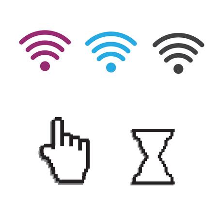 Icônes wifi gratuites et applications wifi et curseur d'ordinateur souris