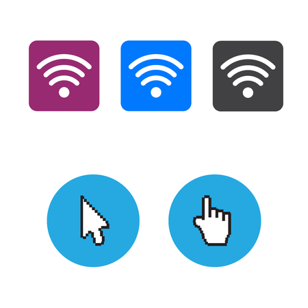 Hand arrow web cursor vector and Free wifi icons and wifi applications Illustration