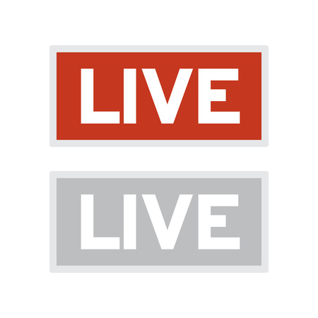 On air glowing sign. Live tv or radio light vector symbol. Live tv and radio broadcast illustration