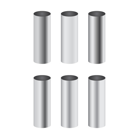 Chrome metal polished gradients corresponding to cylinder pipe vector set Stock Illustratie