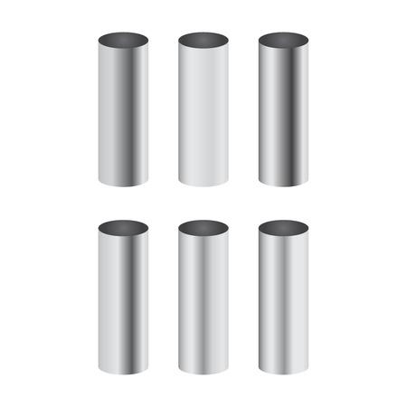 Gradientes pulidos de metal cromado correspondientes al conjunto de vectores de tubería de cilindro Ilustración de vector