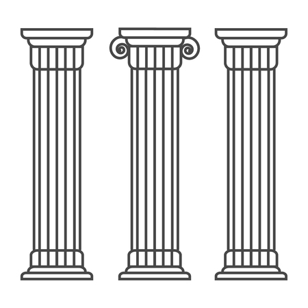 Greek and roman pillar. Outline vector pillar illustration. Architecture greek column icon 스톡 콘텐츠