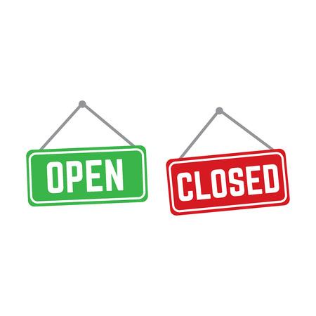 Open en gesloten vector winkel borden rood en groen. Winkel banner deur open illustratie