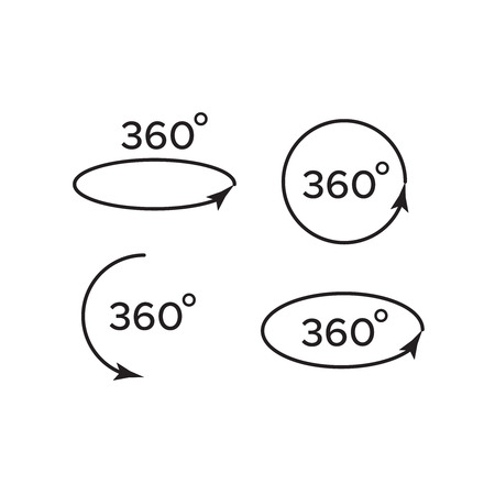 Angle 360 degrees vector. Arrow rotate signs 360 矢量图像