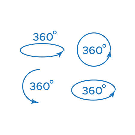 Angle 360 degrees vector. Arrow rotate signs 360