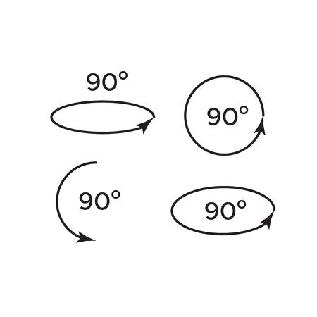 Conjunto de iconos de girar 45, 90, 180 y 360. Grado de rotación 180
