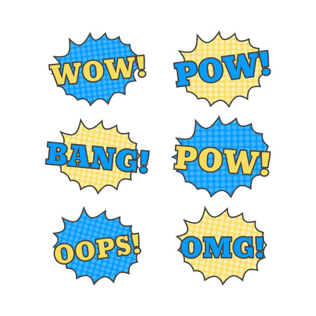 Ttext patches. Comic book speech bubble. Sticker bam badge