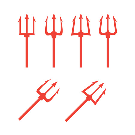 Black trident silhouette. Pitchfork weapon sharp vector illustration