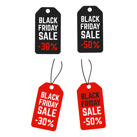 Black friday pricing tags. Promotion labels best offers. Retail vector sign Illustration