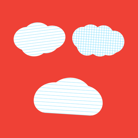 Lined cloud vector. School stickers cloud chat