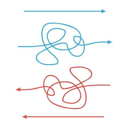 Simple and complicated paths arrow. Way from a to b. Ilustração