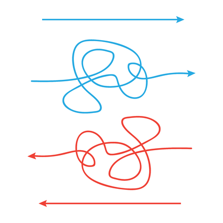Simple and complicated paths arrow. Way from a to b. Illustration