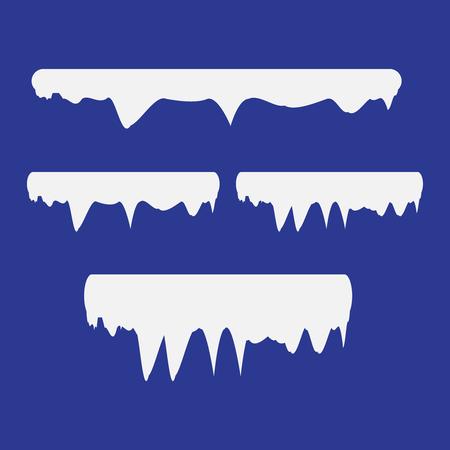 Snow and ice vector frames. Winter cartoon snow caps, snowdrifts and icicles. Illustration of snowcap for web design Ilustração