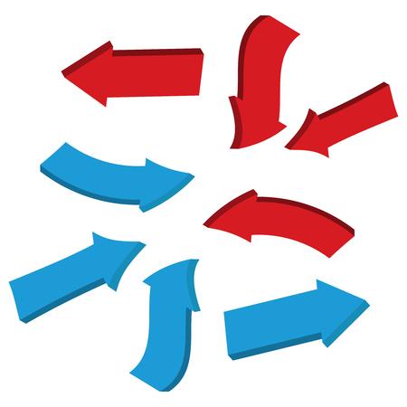 Glossy red 3d arrows. Arrow 3d web curve vector Illustration