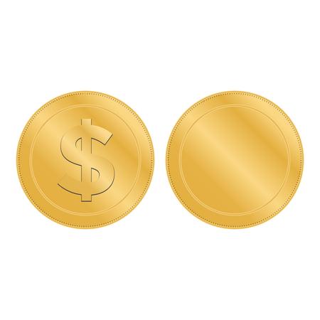 Realistic 3d gold dollar coin. Coin dollar money vector 写真素材 - 127721210