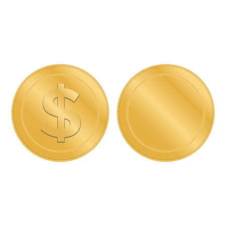 Realistic 3d gold dollar coin. Coin dollar money vector