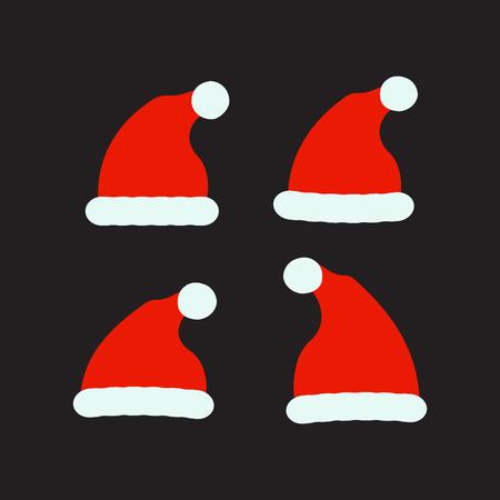 Santa red hats vector. Christmas santa clothes hat. Illustration