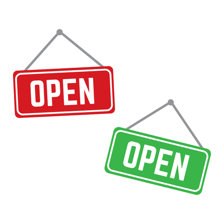 Open and closed vector store signs red and green. Shop banner door open illustration 写真素材 - 127721217