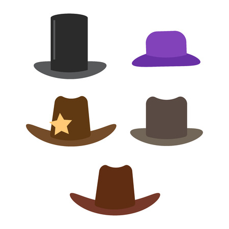 Cartoon hats vector. Male and female accessory hats