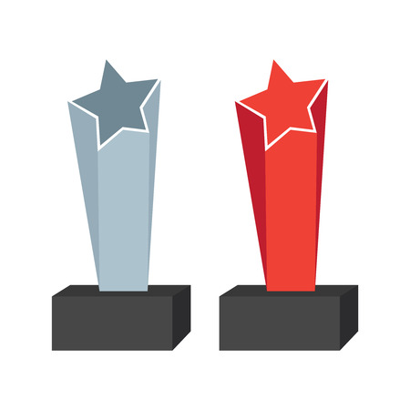 Realistic glass trophy awards. Trophy awards vector 写真素材 - 127721221