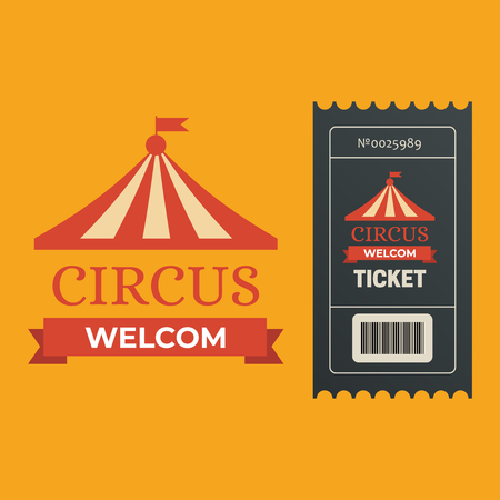 Old carnival circus banners. Circus ticket festival sign 写真素材 - 127721223