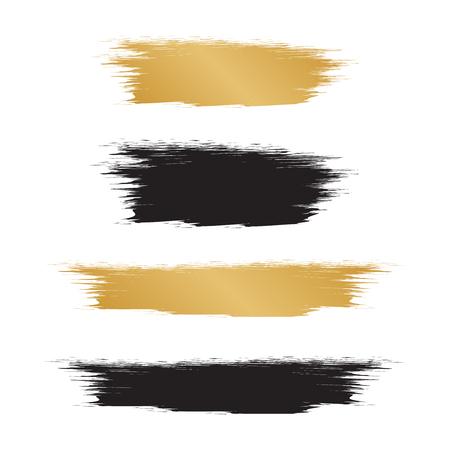 Gold hand drawn brush strokes. Brush golden paint watercolor Illustration
