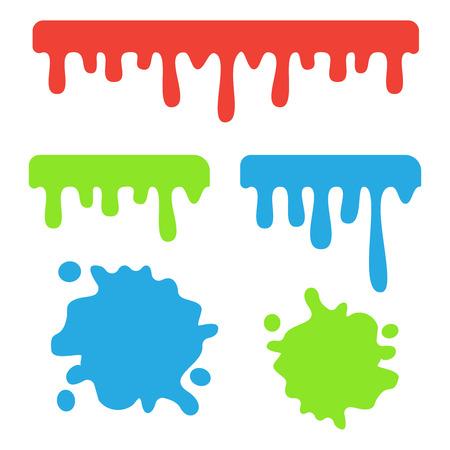 Dripping slime vector. Dripping liquid cartoon snot background Illustration