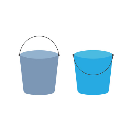 Cartoon buckets. Water pails, metal and plastic bucket. Isolated vector set. Collection of bucket container with water, pailful