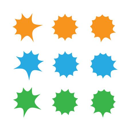 Starburst explosion comic shapes vector. Speech boom bubbles